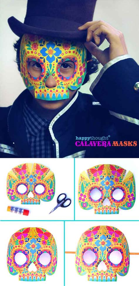 printable calavera skull mask set   easy diy