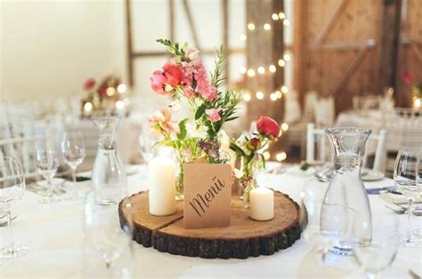 deko tisch hochzeit tischdeko holz runder dekoration