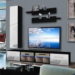Meuble Tv Mural Blanc : meuble tv mural tubus iv 240cm blanc noir ~ Dailycaller-alerts.com Idées de Décoration