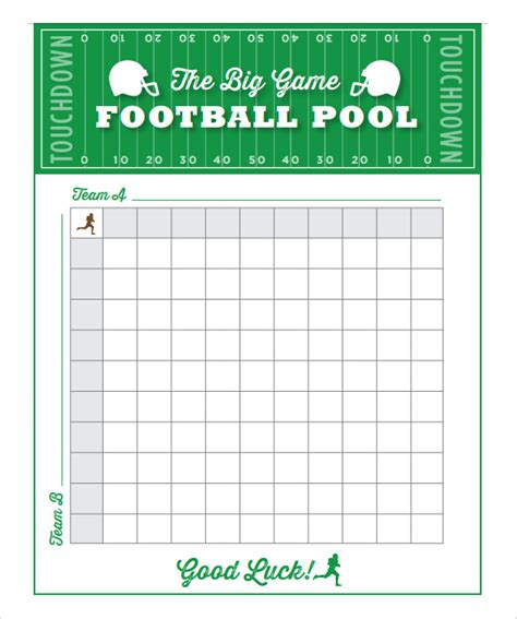 Football Betting Pool Template by 10x10 Football Squares Word Template Studio Design