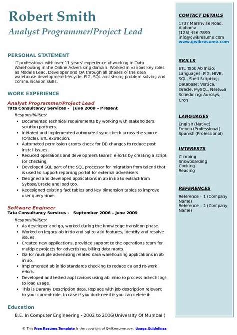 Programmer Resume by Analyst Programmer Resume Sles Qwikresume