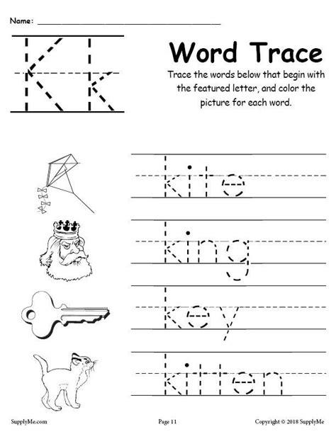 letter k words free alphabet tracing worksheet supplyme