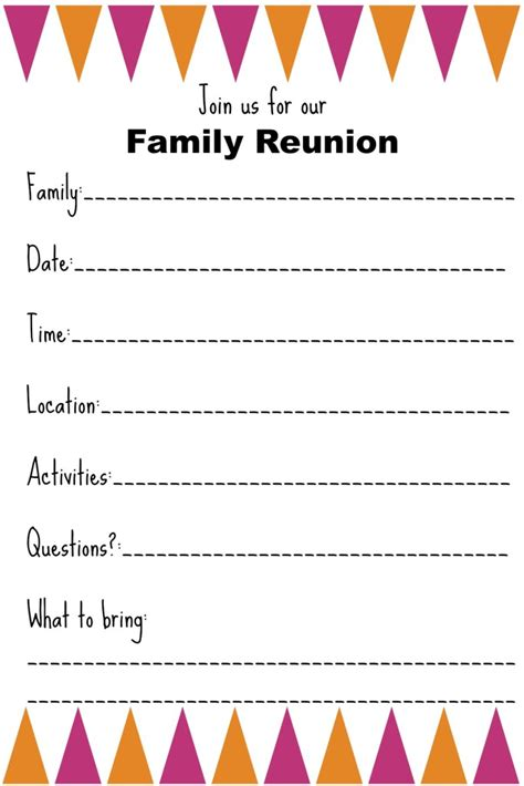family reunion templates family reunion invitation templates ginny s recipes tips