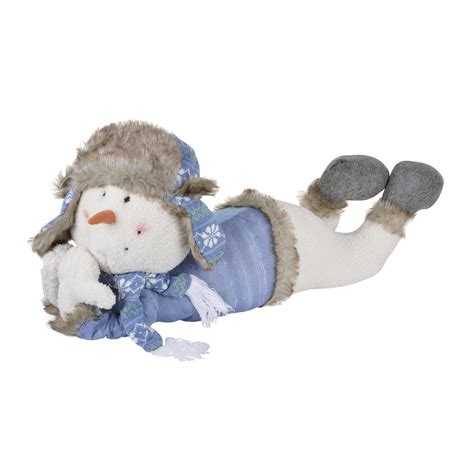 stuffed snowman decorations large lying snowman christmas decoration festive stuffed cushioned xmas ornament ebay