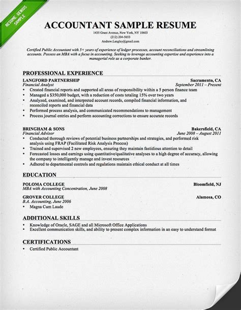 accountant resume sle so college