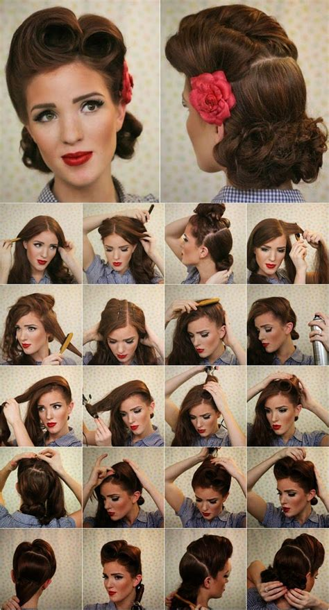 1950s Hairstyle Tutorial by Victory Roll Pin Up Tutorial Vintage Look Pin Up Victory