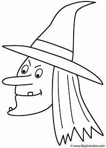 Witch (Face) - Coloring Page (Halloween)