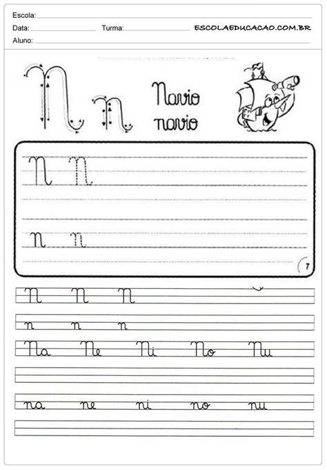 atividade de caligrafia letra n caligrafia