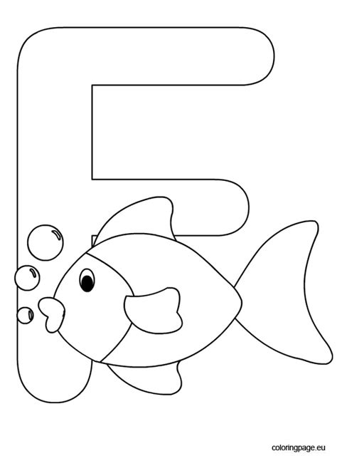 Coloring Letter F by Letter F Coloring Page