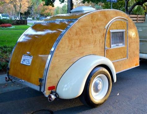 vintage vw truck towing classic hand built wooden teardrop