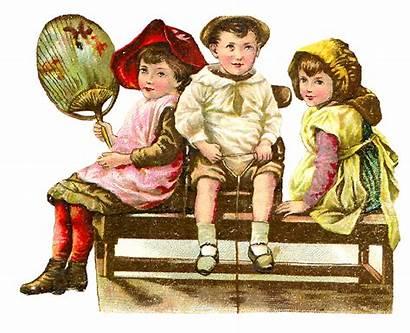Victorian Children Clip Playing Illustration Boys Antique