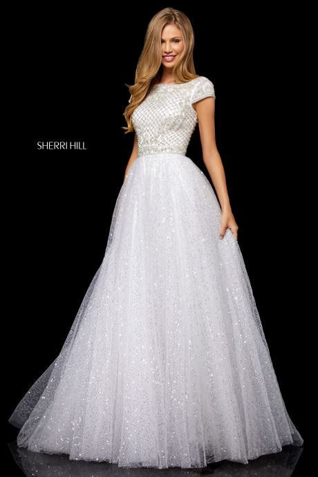 sherri hill  cap sleeve ball gown