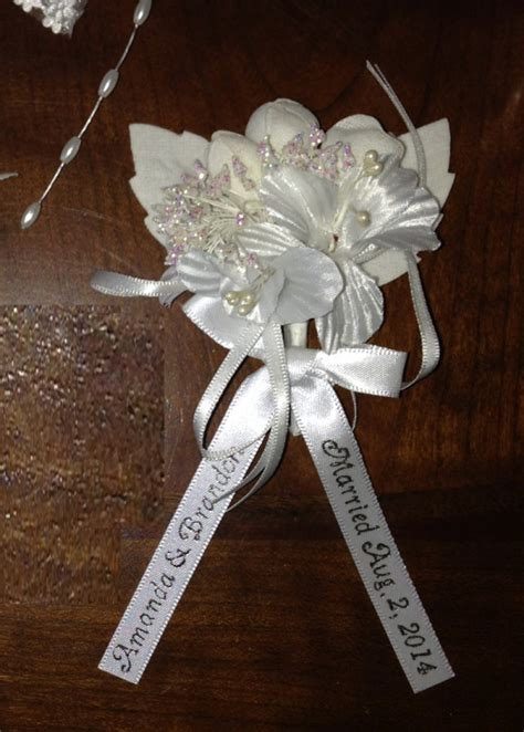 personalized fancy white corsage capias  pin