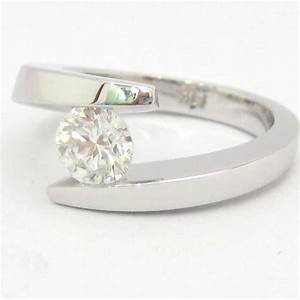 round diamond engagement ring tension set 075ctw knrinc With tension set engagement ring with wedding band