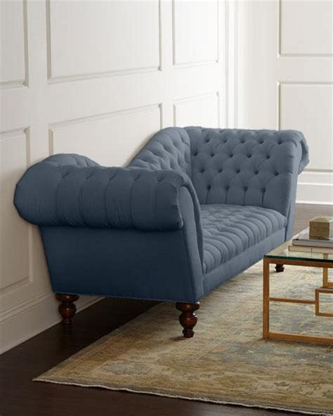 Blue Grey Sofa by Blue Tufted Sofa Zara Fabric Tufted Sofa With Chrome Legs