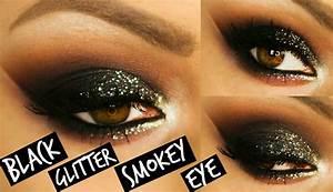 BLACK GLITTER SMOKEY EYE MAKEUP | LAURA SOMMERVILLE - YouTube