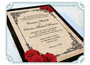 wedding invitations red black gold vintage black and With black white and rose gold wedding invitations