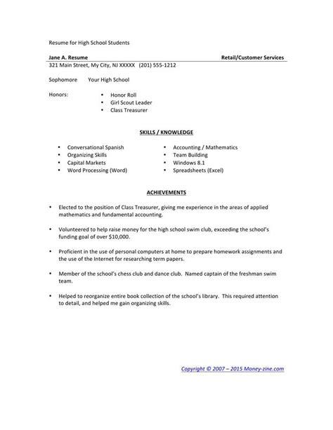 Exle Of High School Resume by High School Resume Template Free Premium