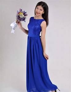 long evening dress cobalt blue wedding dress lace chiffon With cobalt blue wedding dress
