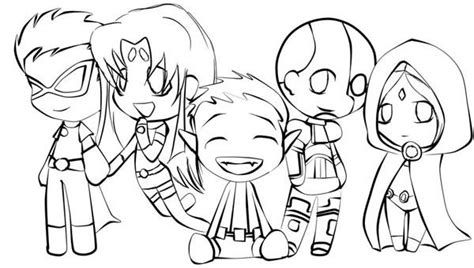 cute teen titan chibi drawing coloring page netart