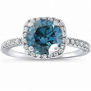 1 3 4 ct blue diamond cushion halo engagement ring 14k for 1 ct wedding ring