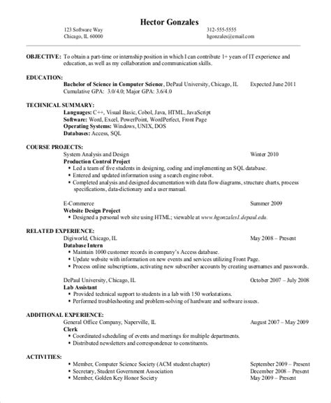 Entry Level It Resume by 9 Entry Level Resume Exles Pdf Doc Free Premium