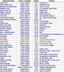spokane lexus is300 toyota part numbers lexus is forum