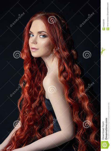 Beautiful Redhead Girl With Long Hair Perfect Woman