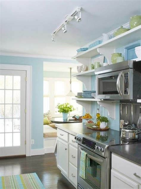 blue kitchen colors kitchen makeovers on a dime the budget decorator 1731