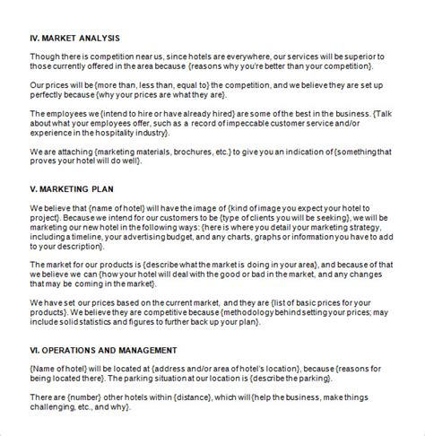 Business Plan Template Free by Hotel Business Plan Template Free