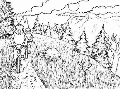 Coloring Mountain Pages Biking Trail Mountains Bike