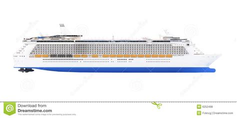 Cruise Ship Isolated Side View Stock Illustration - Image ...