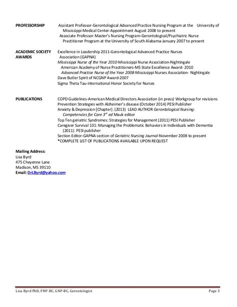 Geriatric Practitioner Resume by 2015 March Byrd Resume