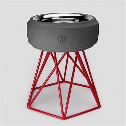 Concrete Dog Bowl Tall Base Sputnik Grey