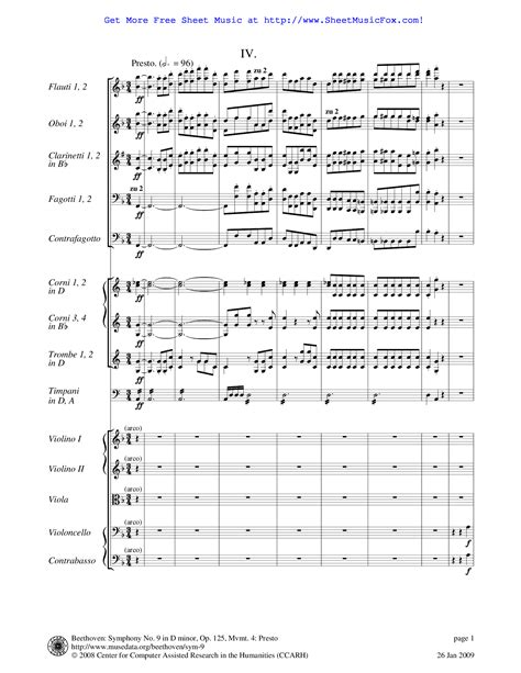 free sheet music for symphony no 9 op 125 beethoven