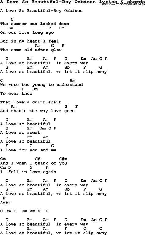 love song lyrics fora love  beautiful roy orbison