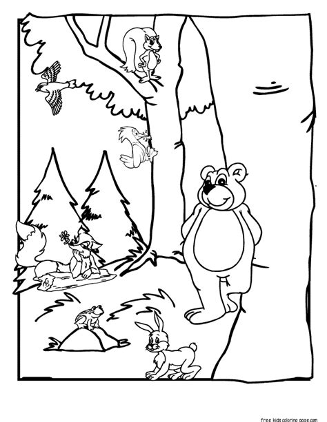 printable forest animals coloring pages  kidsfree printable coloring pages  kids