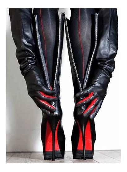 Thigh Boots Heels Heel Zip Behind Nylons