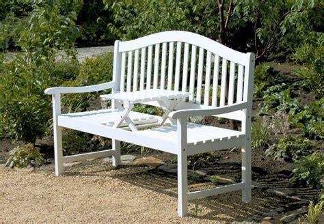 Gartenbank Mit Tisch Weiß by Gartenbank Mit Hochklappbarem Tisch Aus 100 Fsc