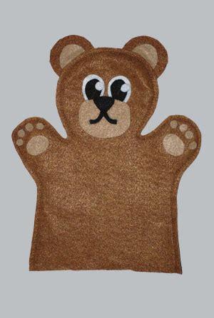 bear felt hand puppet  tucson puppet lady