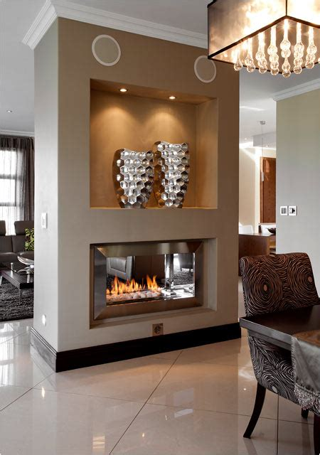 27+ Gorgeous Double Sided Fireplace Design Ideas, Take A