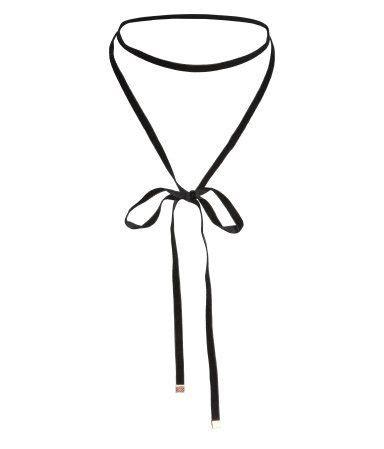 black tie necklace  narrow velvet ribbon metal clips