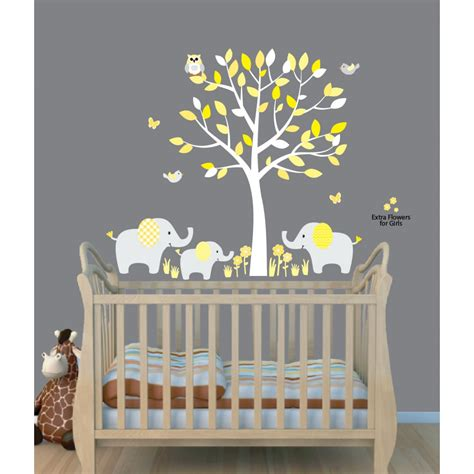 Fathead Baby Wall Decor by Yellow Safari Murals With Elephant Wall Decal For Baby Room