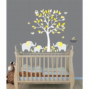yellow safari murals with elephant wall decal for baby room With nice yellow and gray wall decals