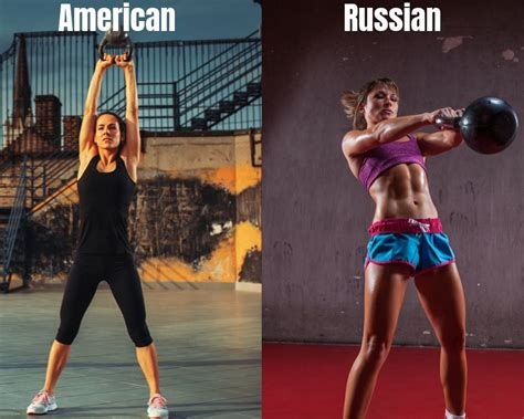 swing kettlebell russian glutes shoulders hamstring quads forearms chest core works american vs