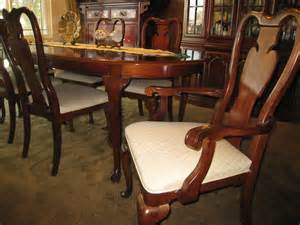 rich mahogany dining table with six mahogany chairs and
