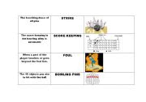 english worksheets esl bowling terms  definitions