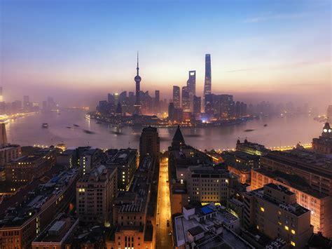shanghai huangpu river lujiazui skyscrapers morning