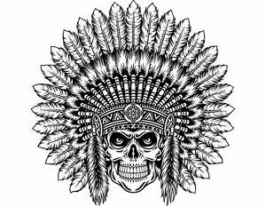 Indian Skull #6 Native American Warrior Headdress Feather ...