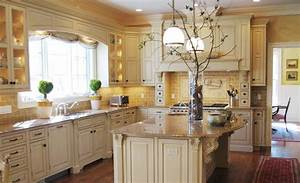 terrific french country kitchen decor with broken white With kitchen colors with white cabinets with four seasons wall art